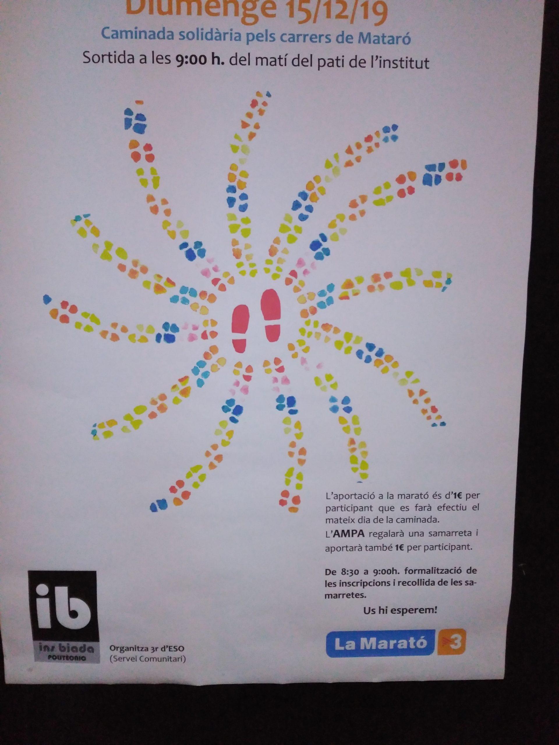 Poster de la caminada per la Marató de TV3 organitzada per 3r ESO