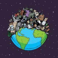 Ilustración que muestra la contaminación en nuestro planeta.
